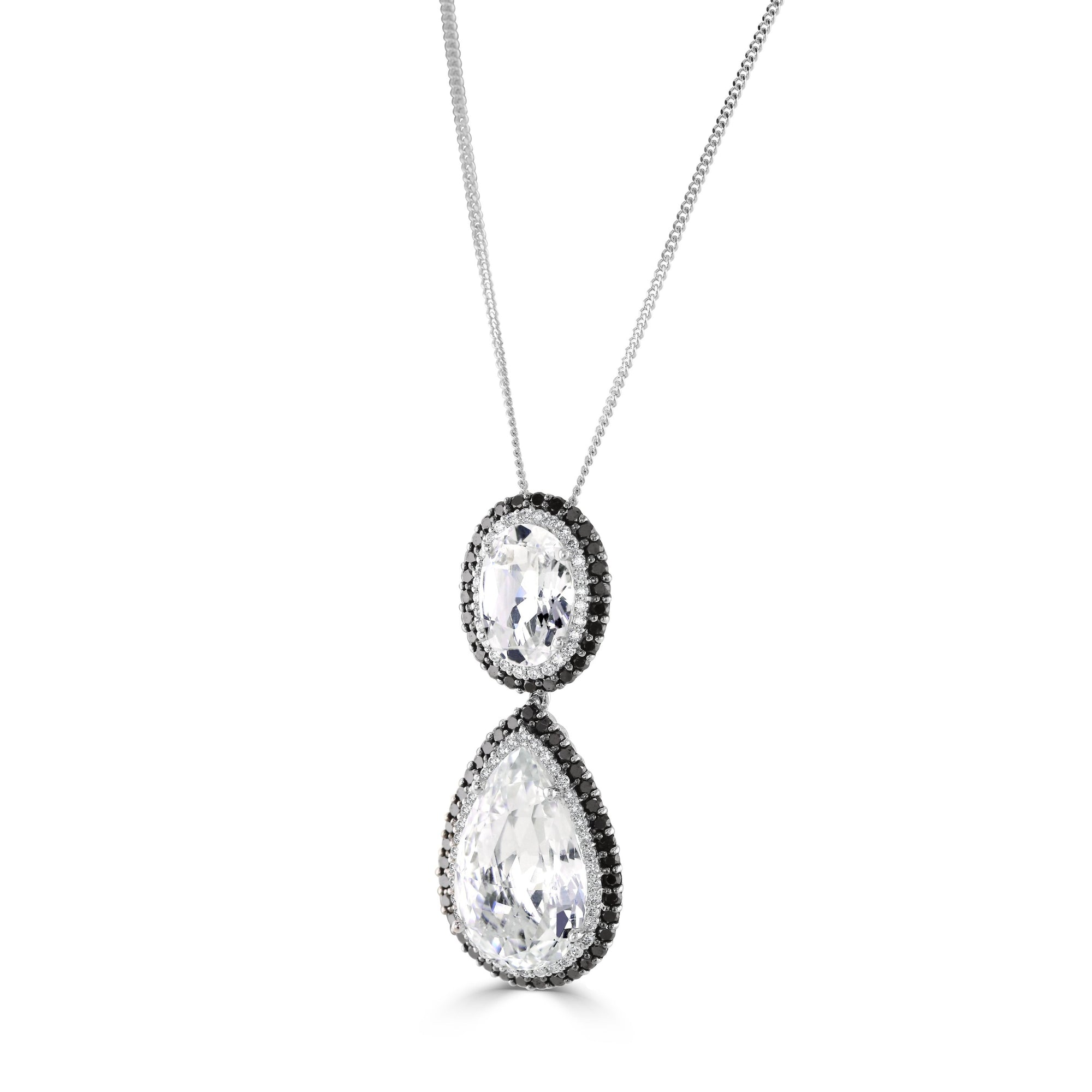 18ct White Gold Diamond and Crystal Drop Pendant