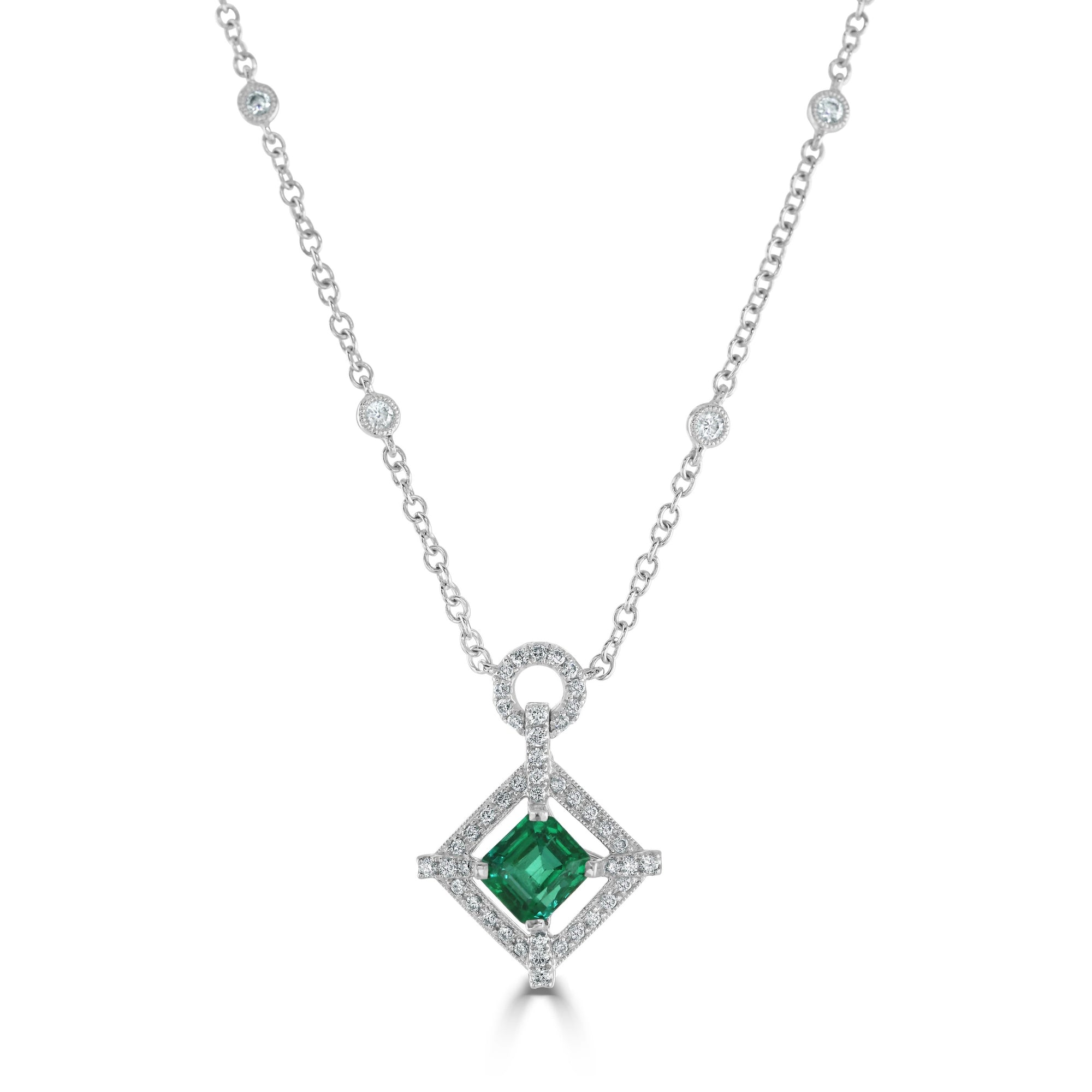 18ct White Gold Emerald and Diamond Cluster Necklace
