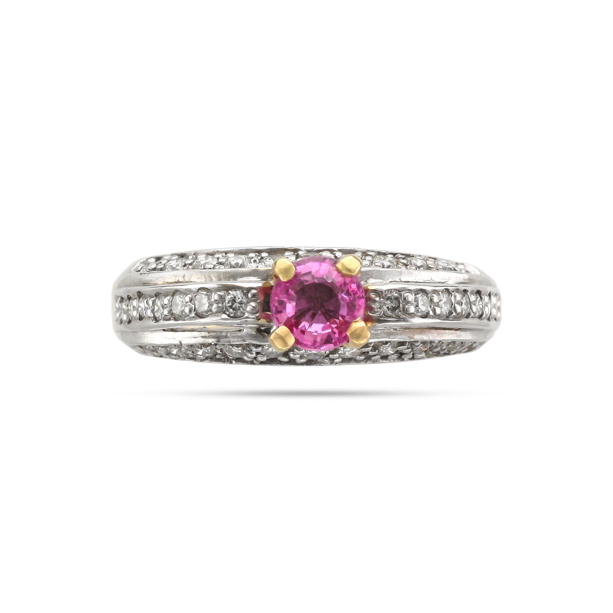 Vintage 18ct White & Yellow Gold Pink Sapphire Ring