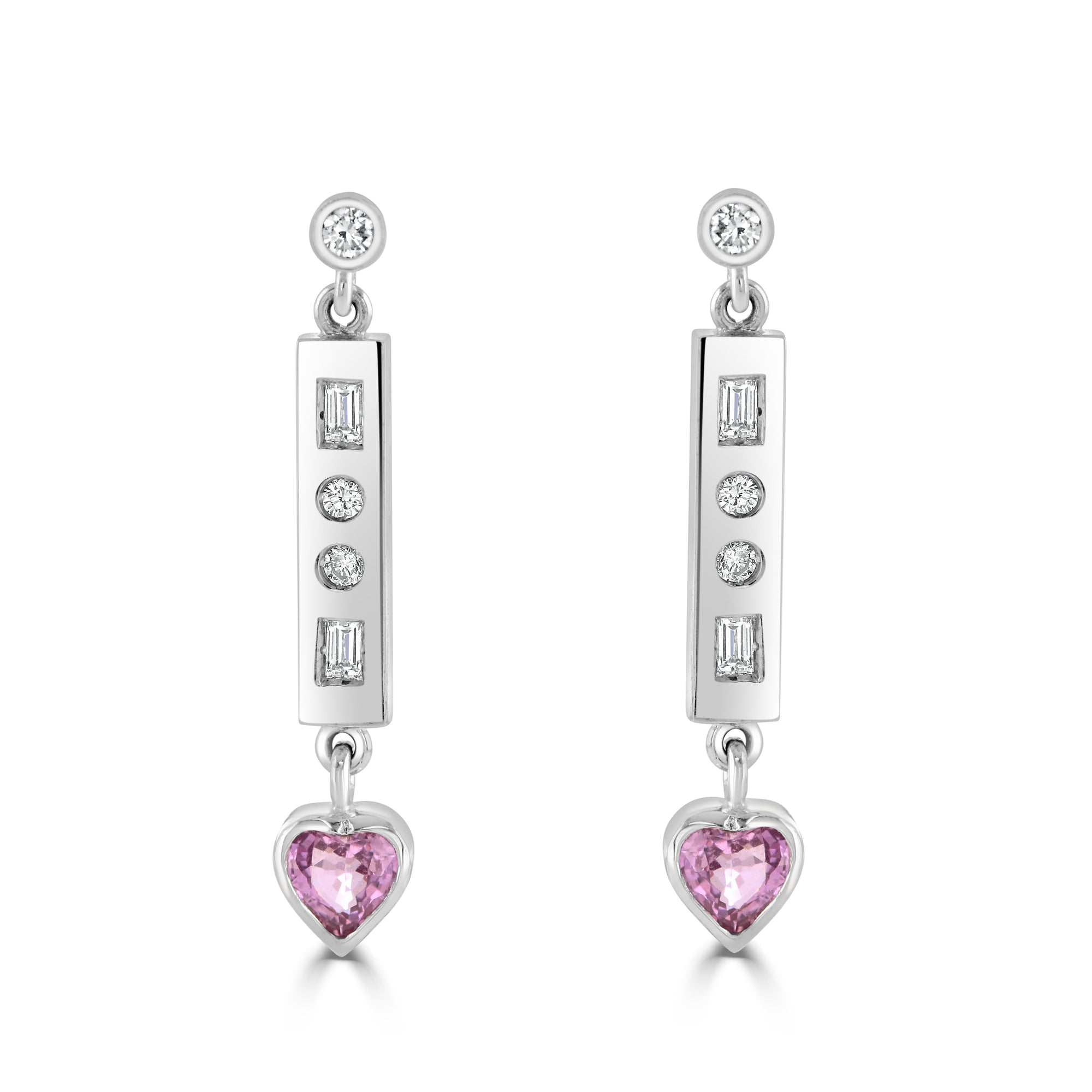 Vintage 18ct White Gold Pink Sapphire and Diamond Drop Earrings