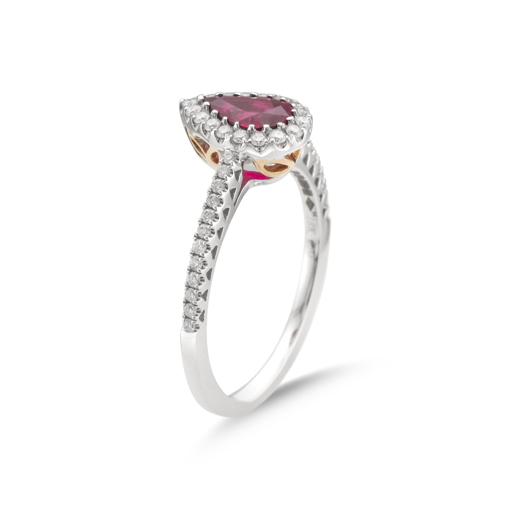 Vintage 18ct White Gold Ruby and Diamond Ring