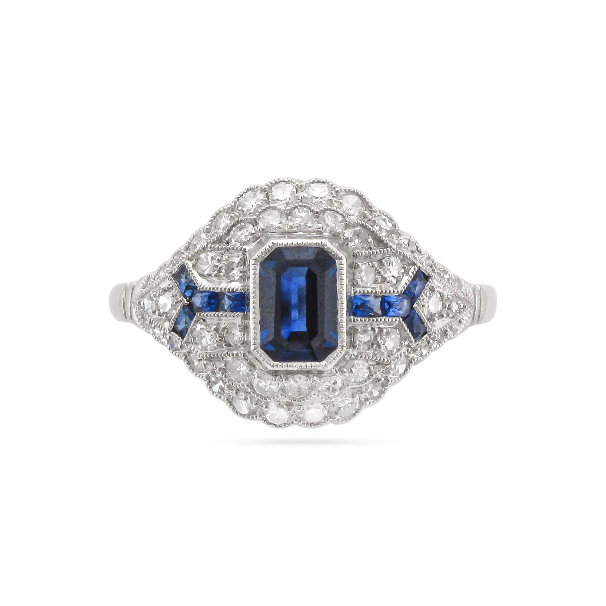 Vintage 18ct White Gold Sapphire and Diamond Cluster Ring