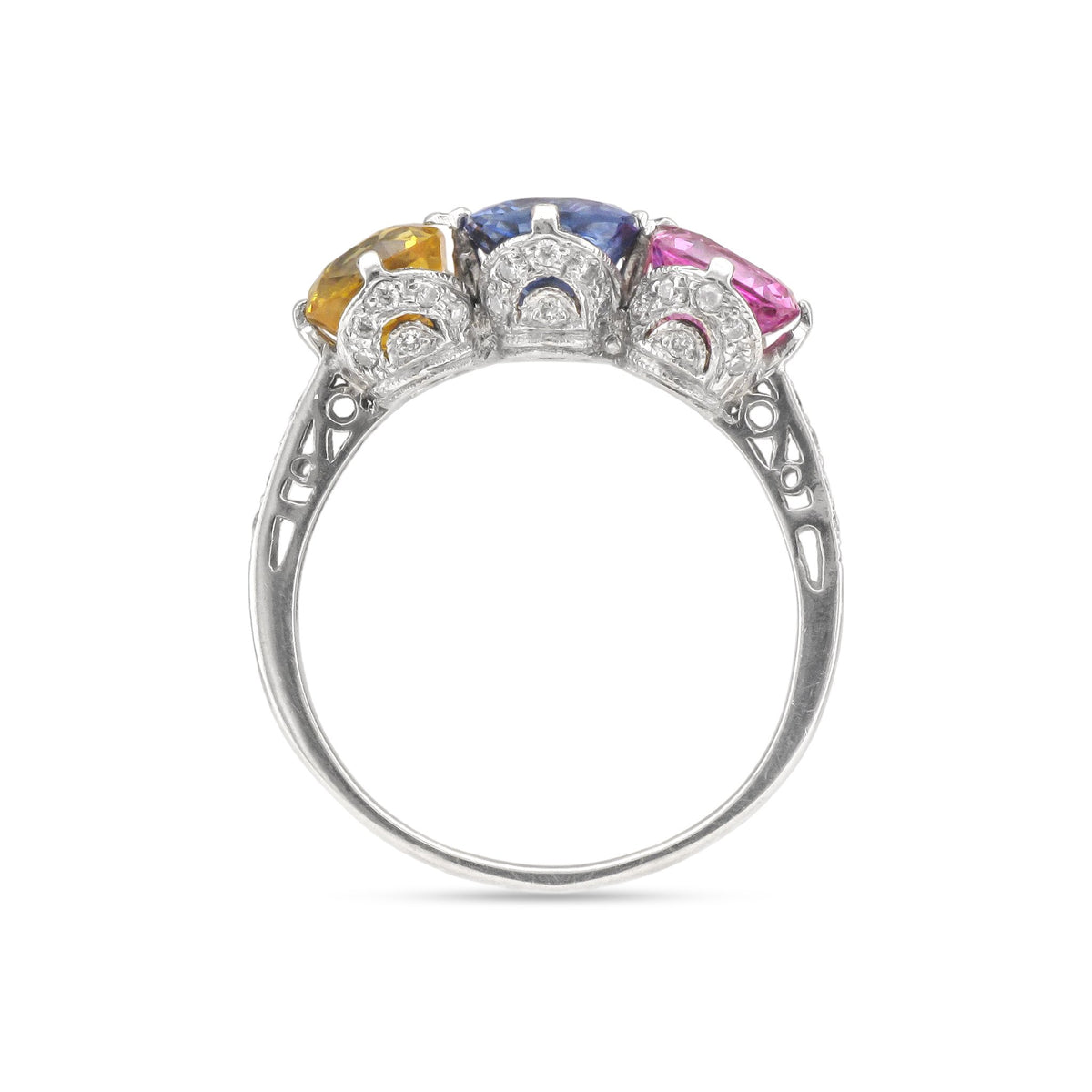 Vintage 18ct White Gold Sapphire and Diamond Ring (Pink, Blue & Yellow Sapphires)