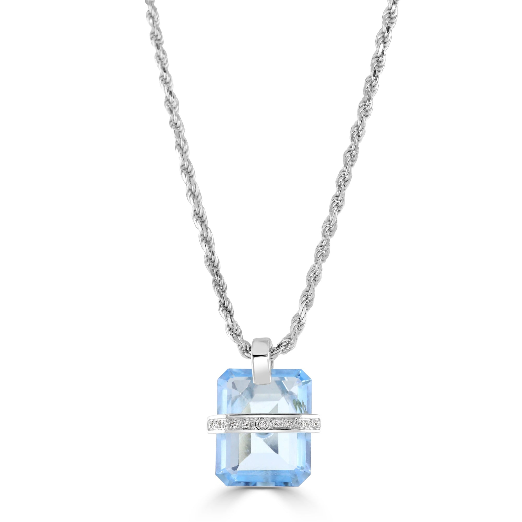 18ct White Gold Topaz and Diamond Pendant