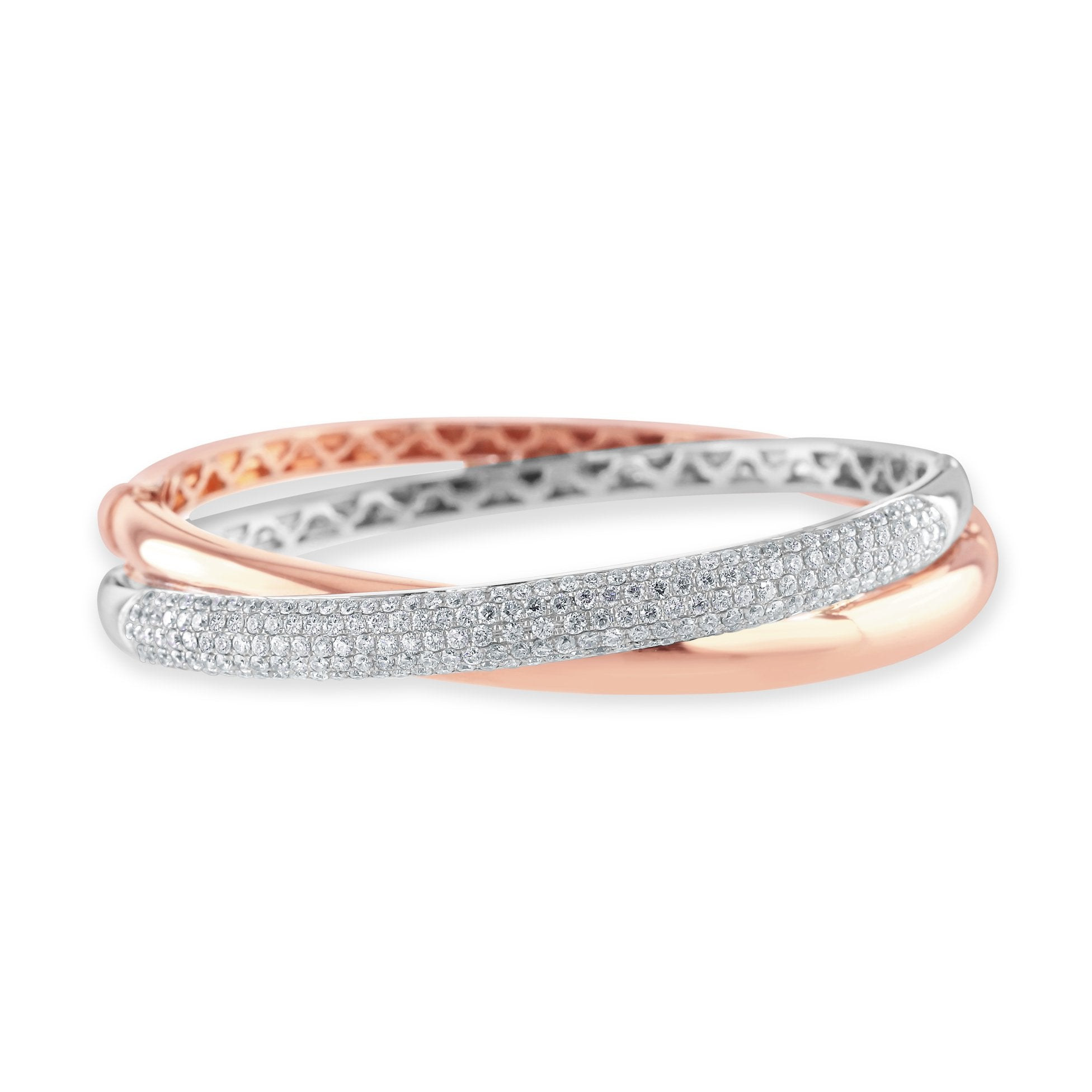 18ct White and Rose Gold Diamond Bangle