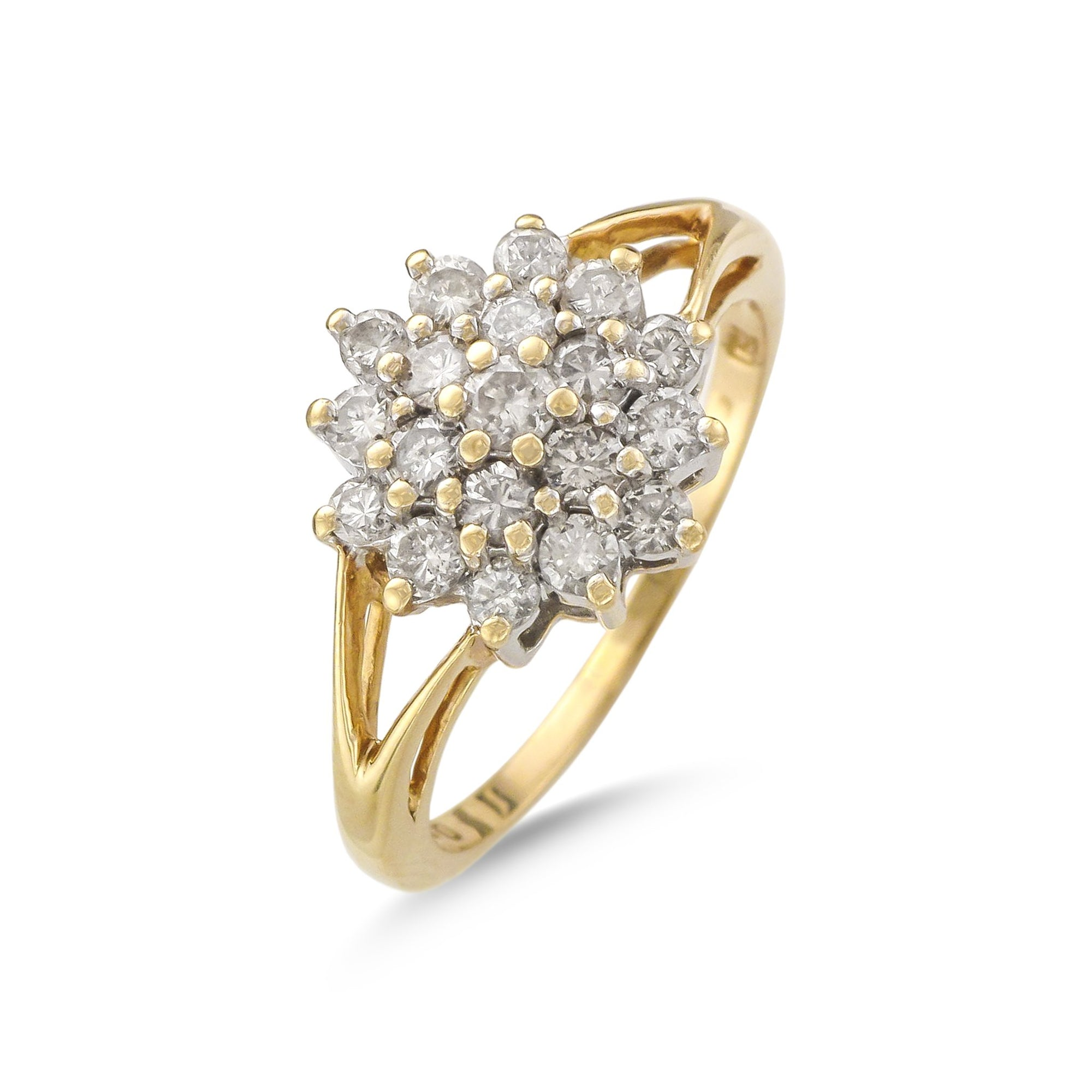 Vintage 18ct Yellow Gold Split Shank Diamond Cluster Ring
