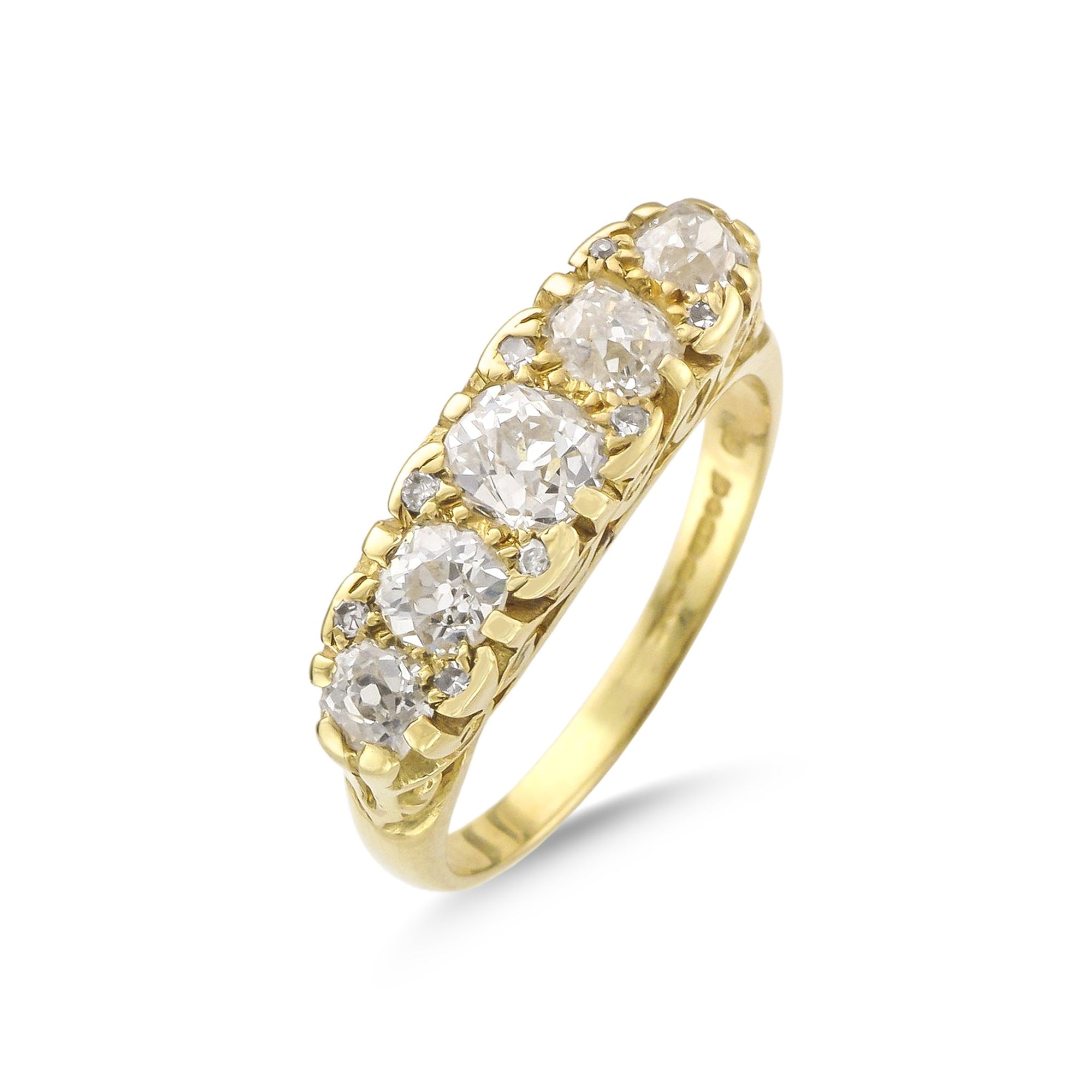 Vintage 18ct Yellow Gold Five Stone Diamond Ring
