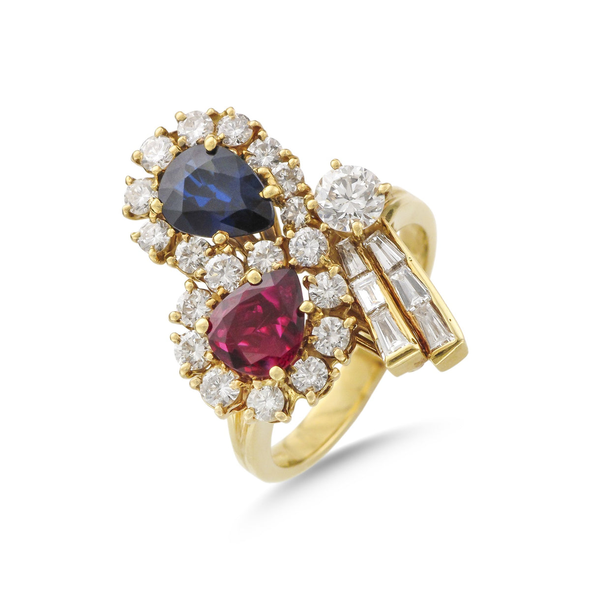 Vintage 18ct Yellow Gold Multi-Gem Bow Style Ring (Ruby, Sapphire & Diamond)