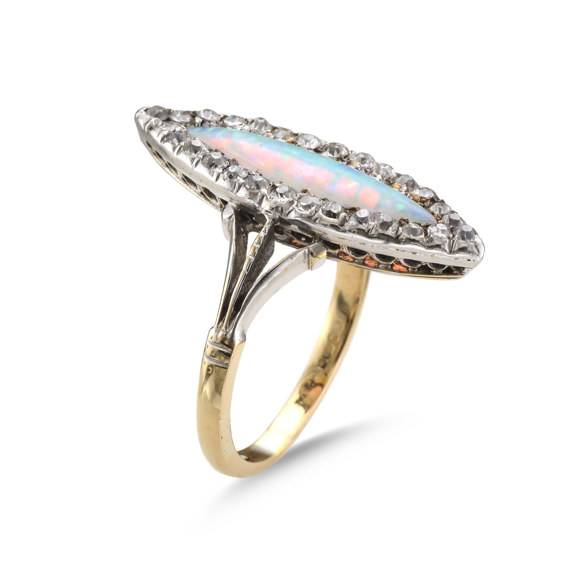 Vintage 14ct Yellow Gold Marquise Opal and Diamond Ring