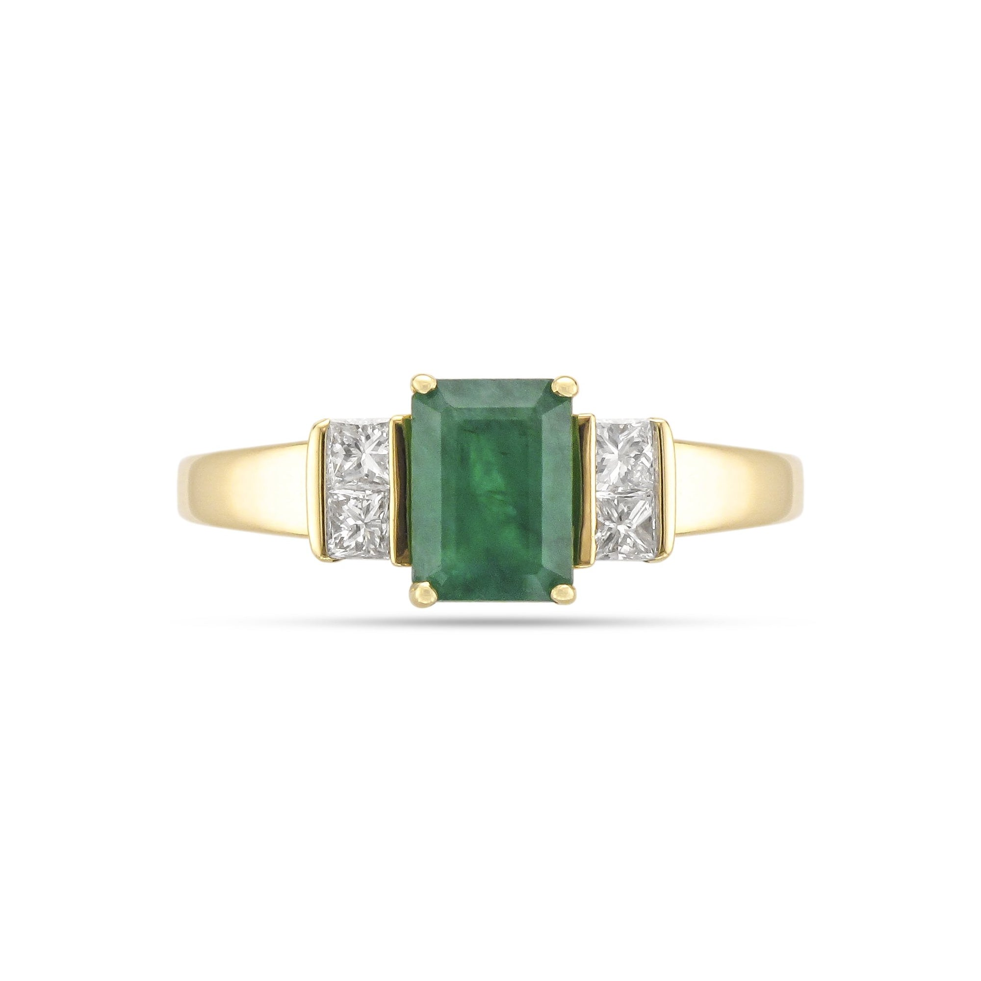 Vintage 18ct Yellow Gold Five Stone Emerald and Diamond Ring