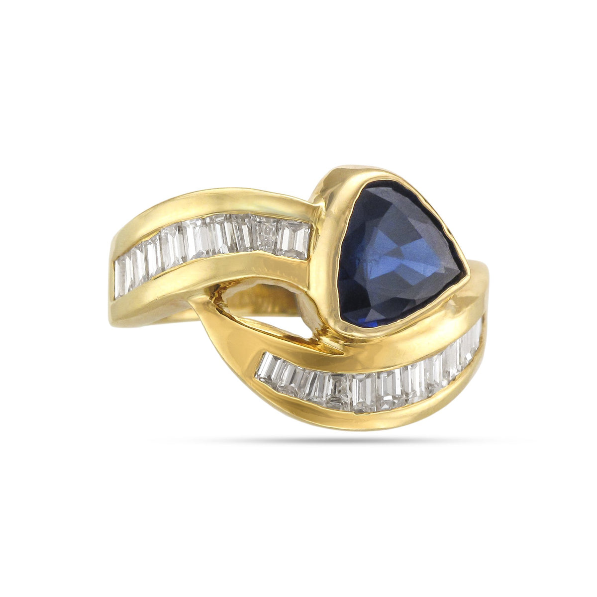 Vintage 18ct Yellow Gold Sapphire and Diamond Crossover Ring