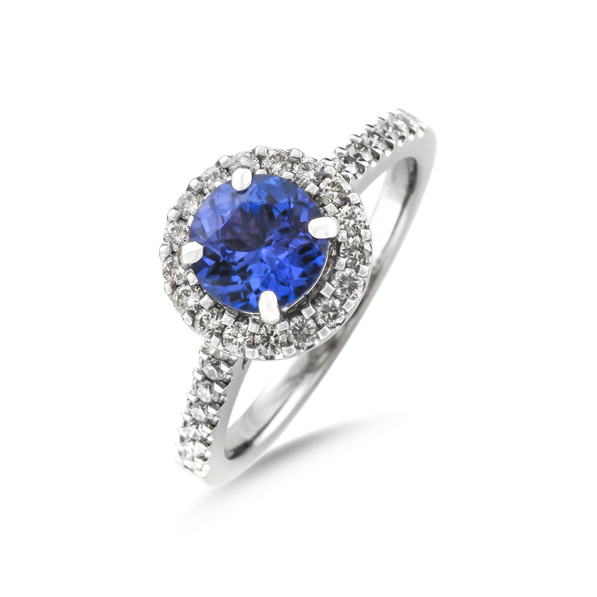 Vintage 18ct White Gold Tanzanite and Diamond Halo Ring