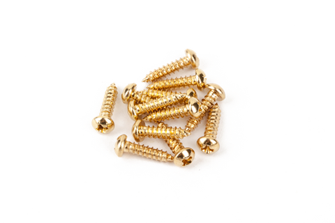 Fender Pure Vintage Tuning Machine Mounting Screws, Gold, (12)