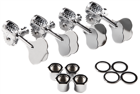 "Fender Deluxe ""F"" Stamp Bass Tuning Machines, (4), Chrome"
