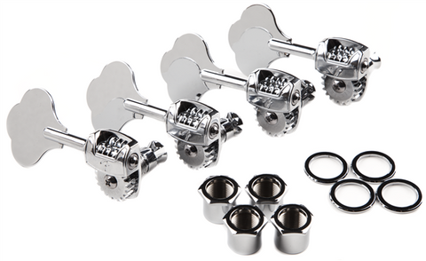 "Fender Deluxe ""F"" Stamp Bass Tuning Machines, Left-Hand, (4), Chrome"
