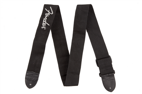 "Fender 2"" Black Poly Strap w/ Grey Fender Logo"