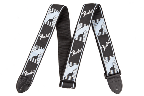 "Fender 2"" Monogrammed Strap, Black/Light Grey/Blue"