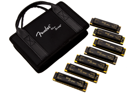 Fender Blues DeVille Harmonica, Pack of 7, with Case