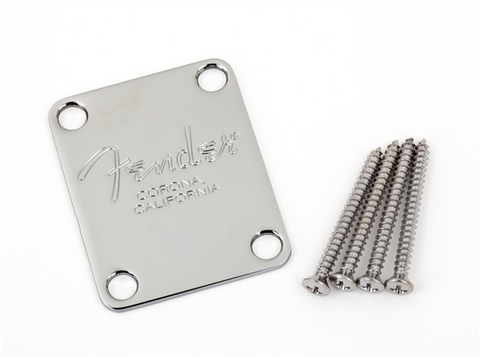 "4-Bolt American Series Bass Neck Plate with ""Fender Corona"" Stamp (Chrome)"