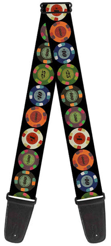 "Buckle Down 2"" Poker Casino Chips Guitar Strap - W31646"
