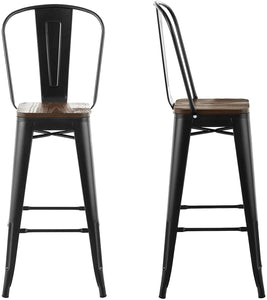 "BAR STOOLS with backs 30"" high - 4 Pack"