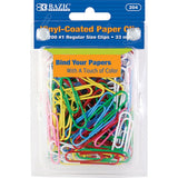 BAZIC, Color Paper Clips, Regular Size, 33mm, 200count
