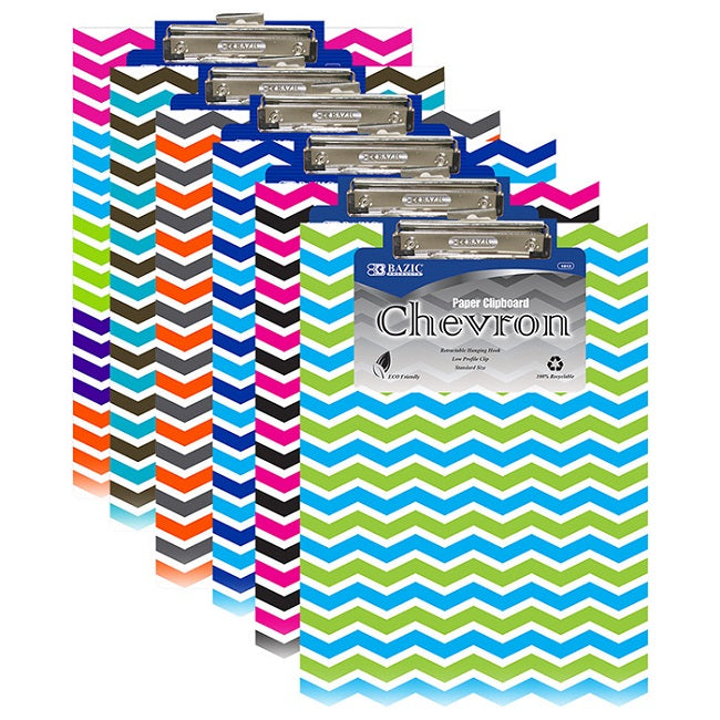 BAZIC, Clipboard with Low Profile Clip, Chevron Paperboard, Standard Size