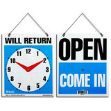 "BAZIC, Open Sign with Clock and ""Will Return, 7.5"" X 9"""