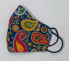 Adult Face Mask, Fabric, Contoured, BLUE & ORANGE PAISLEY