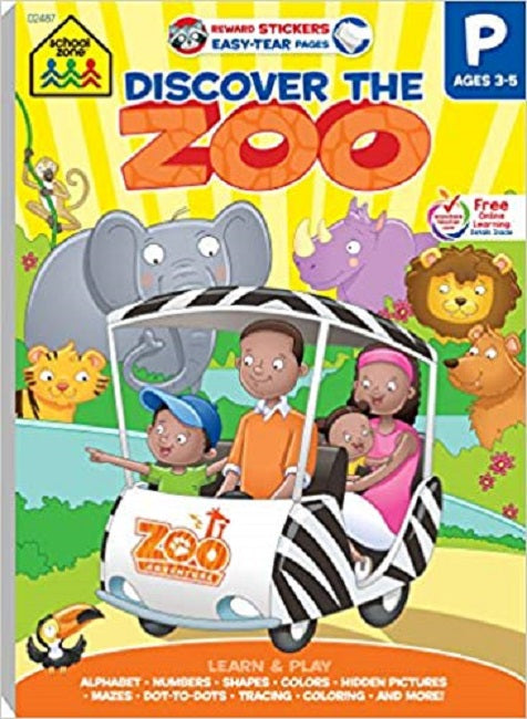 School Zone Discover the Zoo Adventure Tablet Workbooks Ages 3-5
