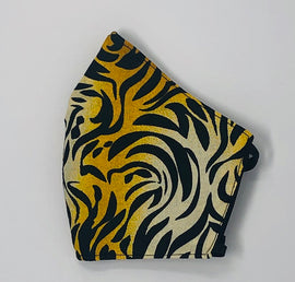 Adult Face Mask, Fabric, Contoured, TIGER PRINT