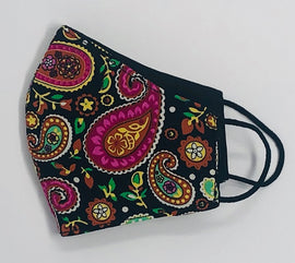 Adult Face Mask, Fabric, Contoured, BLACK & PINK PAISLEY