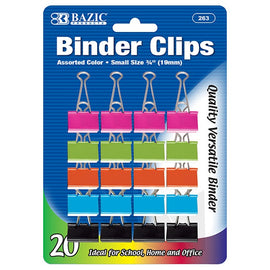 "BAZIC, Binder Clip, S, 3/4"" 19mm, Assorted Colors, 20Count"
