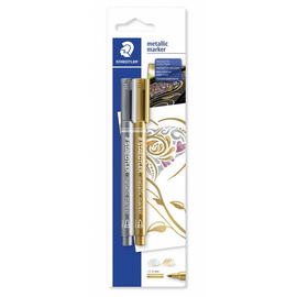 Staedtler Metallic Markers, Gold & Silver, 2pk