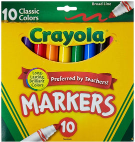 Crayola Markers, Broad Line, Assorted Colours, 10 Count