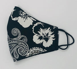 Adult Face Mask, Fabric, Contoured, BLACK & WHITE PAISLEY