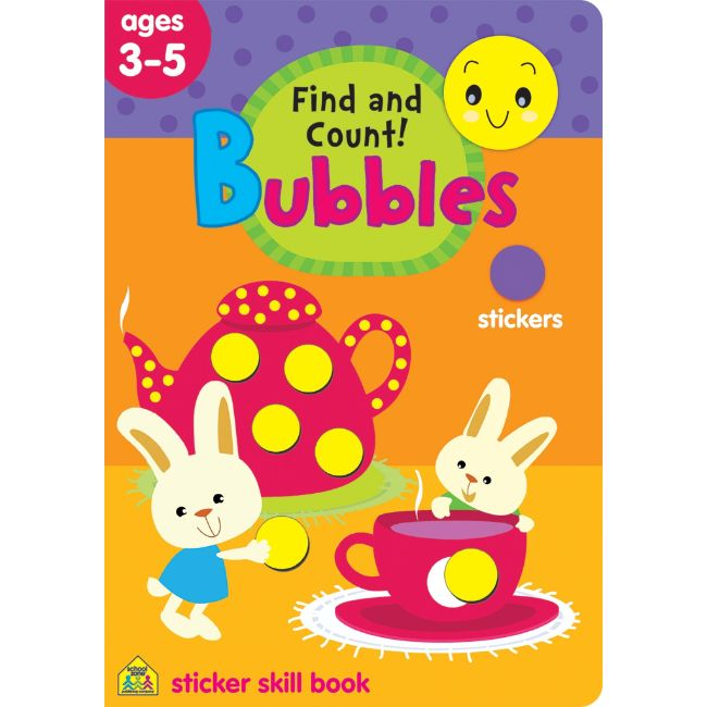 School Zone Find and Count! Bubbles Sticker Skill Book Ages 3-5