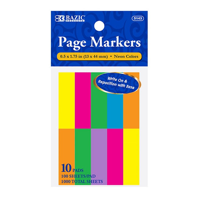 "BAZIC, Page Markers, 0.5"" x 1.75"", Neon Colors, 10 PADS"