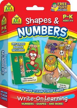 School Zone Shapes and Numbers Write-On Learning Wipe-Clean Flash Cards P-K Ages 3-6