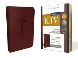 KJV Bible, Compact Large Print Reference Bible, Burgundy Leathersoft