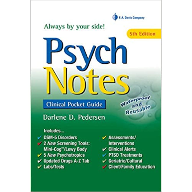 Psych Notes, Clinical Pocket Guide, 5ed BY D. Pedersen