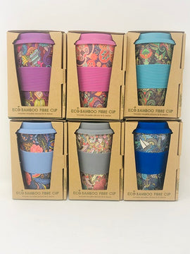 Eco Bamboo Fibre Cup, Paisley & Floral Patterns