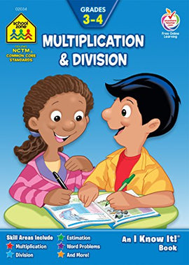 School Zone Multiplication & Division, Grades 3-4