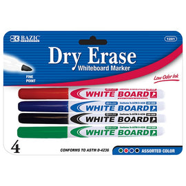 BAZIC, Dry-Erase Marker, Assorted, Color Fine Tip, 4count