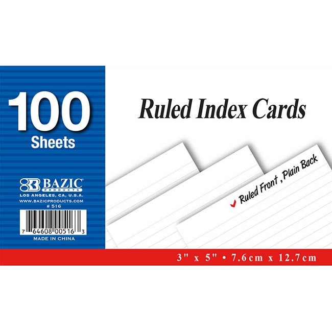 "BAZIC, Index Card, Ruled White, 3"" X 5"", 100count"