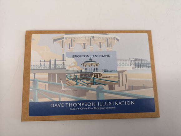 Pack of Six Postcards Brighton Hove Bandstand Dave Thompson Souvenir
