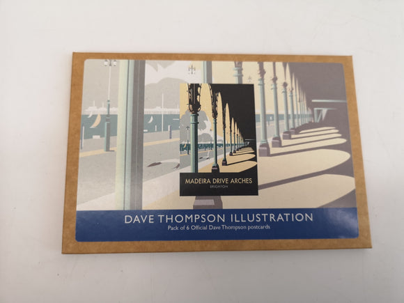 Pack of 6 Brighton Madeira Drive Arches Postcards Designed by Dave Thompson