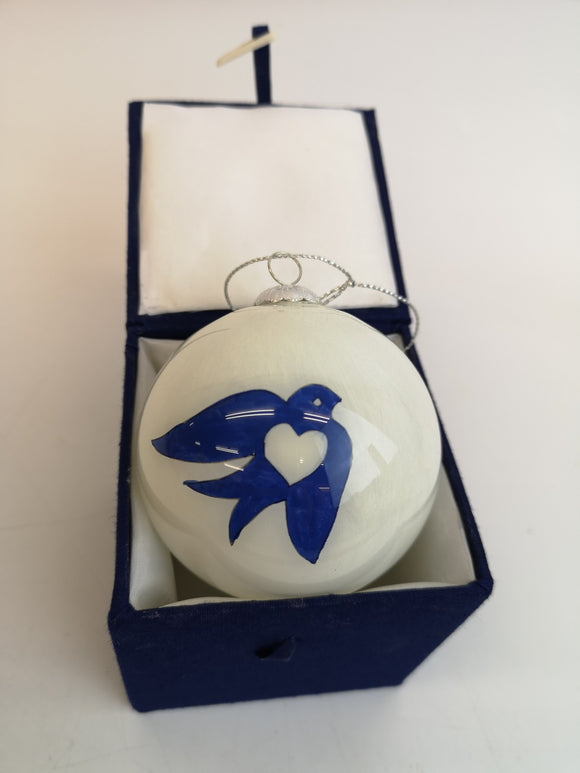 Limited Edition Hand Painted Martlets Bird Glass Christmas Bauble in Storage Box