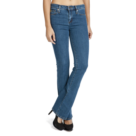 Long Length Mid-Rise Yoga Jean, Flared Bootcut, Denim