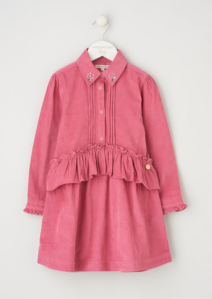 Harper Dusky Pink Peplum Shirt Dress